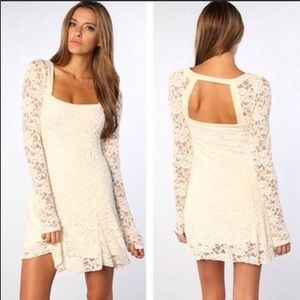 Free People Cream Flirt For You Lace Dress